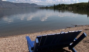 Looking out at the lake from a beach in Osoyoos BC